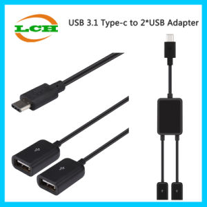Hotselling USB 3.1 Type C to 2*USB Hub Adapter pictures & photos