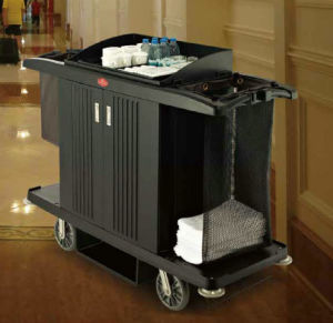 Deluxe Hotel Guestroom Service Cart with Two Bucket, Cleaning Trolley pictures & photos