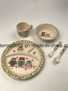 Five PCS Bamboo Fiber Colorful Dinner Set Eco-Friendly Children Bamboo Dinner pictures & photos