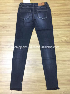 10.2oz Black Ladies Jeans (HYQ97-08GDT) pictures & photos