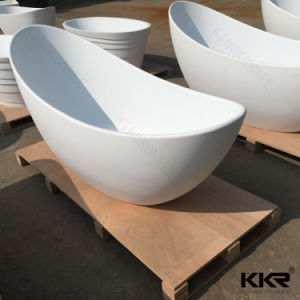 Factory Price Solid Surface White Stone Freestanding Bathtub pictures & photos