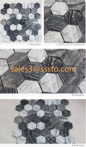 Mixty Black and White Hexagon Marble Mosaic pictures & photos