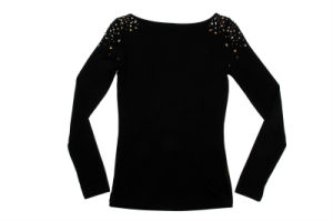 Stock! Ladies Black Rostone Decorated Long Sleeve T-Shirt pictures & photos