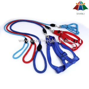 Hot-Sale High-Quality Solid Color 15mm Polyester/Nylon Leash & Adjustable Harness with Reflective Strip pictures & photos