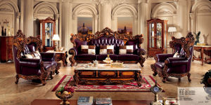 European Style Sofa with Genuine Leather Sofa Vintage Classical pictures & photos
