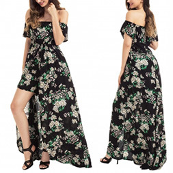 Fashion Women Leisure Casual Chiffon Printed off Shoulder Dress pictures & photos