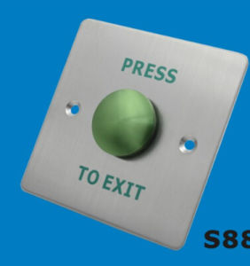 Dome Exit Button -Stainess Less with Green Slikprinting pictures & photos