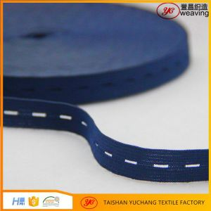 Good Quality Knitted Blue Button Hole Elastic for Garments pictures & photos