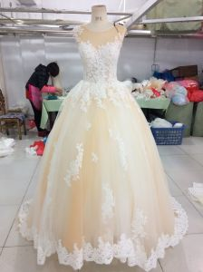 Champagne Ivory Satin Tulle Wedding Dress pictures & photos