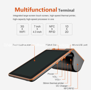 Android POS Terminal Support Printer/ RFID Card Reader/NFC/2D Barcode/3G/WiFi/Bluetooth pictures & photos
