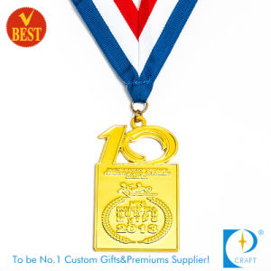 Custom Metal Gold Anniversary Medal with Ribbon pictures & photos