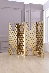 Golden Stainless Steel Folding Screen for Hotel Interior Furniture pictures & photos
