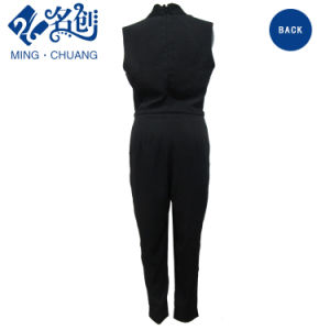 Newstyle Black V-Neck Sleeveless Sexy Rear-Zipper Fashion Women Jumpsuit pictures & photos