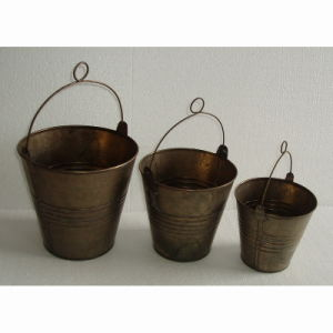 Copper Color Round Tin Flowerpot Bucket Garden Flower Pot pictures & photos