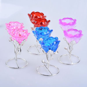 Muti Color Rose Crystal Glass Candle Holder for Decoration pictures & photos