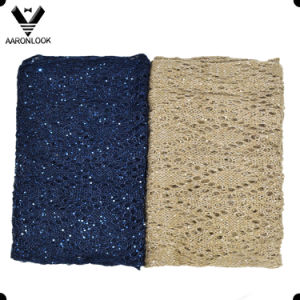 Women Jacquard Knit Shiny Sequins Yarn Scarf pictures & photos