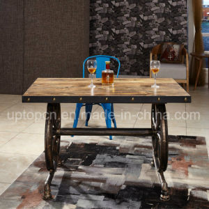 Industrial Style Wooden Table with Cartwheel Shape Leg (SP-RT546) pictures & photos