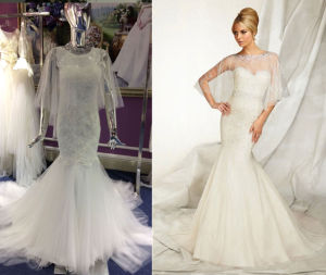Trumpet Wedding Dress with Shawl pictures & photos