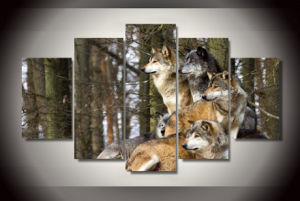 HD Printed Wolf Pack Animal Painting on Canvas Room Decoration Print Poster Picture Canvas Mc-150 pictures & photos