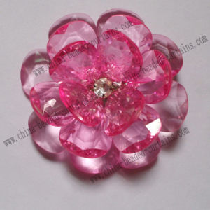 Acrylic Pink Faceted Bead Decorative Big Flower with Faceted Petal