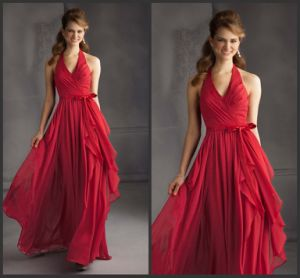 Halter Formal Party Evening Gowns Red Chiffon Custom Bridal Bridesmaid Dress Bb901 pictures & photos