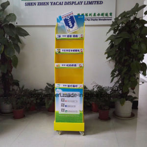 Rotary Cardboard Floor Display with Shelves for Woodlock Medicated Balm, China Creative Cardboard Display Stand pictures & photos