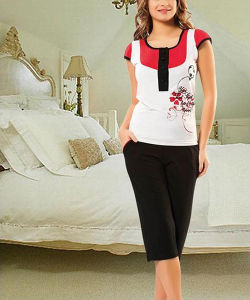 Floral Print Underwear Sleepwear Set/Pure Cotton Pajamas/T-Shirt Style Homewear