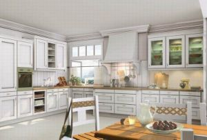White Oak Kitchen Cabinets with Glass Wall Cabinets Kc-042 pictures & photos