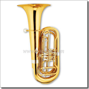 3 Valves Gold Lacquer Bb Key Rotary Tuba (TU9910) pictures & photos