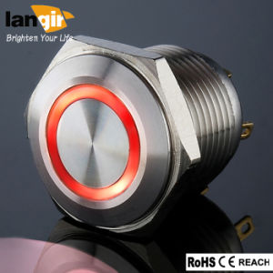 16mm Short Body Waterproof Stainless Steel Momentary Pushbutton Switch with Red LED pictures & photos
