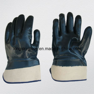 Jersey Liner Fully Coated Blue Nitrile Glove for Chemical Industry-5016 pictures & photos