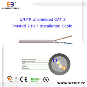U/UTP Unshielded Cat 3 Twisted 2 Pair Installation Cable pictures & photos