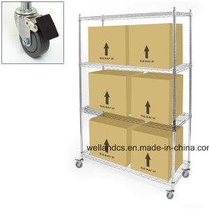 Adjustable 4 Tiers Display Metal Wire Shelf with Wheels 500ibs Per Shelf pictures & photos