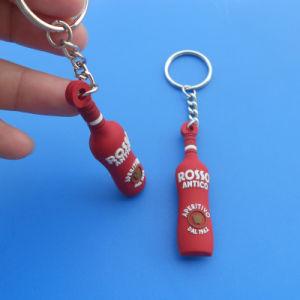 Wine 3D Bottle PVC Plastic Key Chain Key Ring (AS-HA-LU-024) pictures & photos