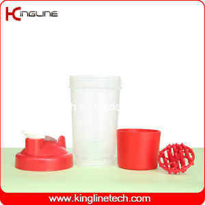 500ml Plastic Protein Shaker Bottle with 1 Compartment and Plastic Mixer Ball (KL-7024) pictures & photos