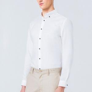 Model 100%Cotton Poplin Slim Fit Men Business Office Uniform Shirt pictures & photos