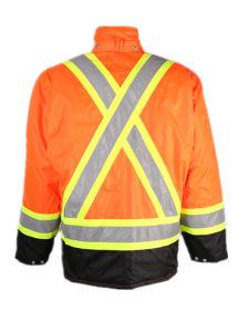 Hi-Vis Orange /Black Safety Refelctive Mens Waterproof Winter Parka Coat pictures & photos