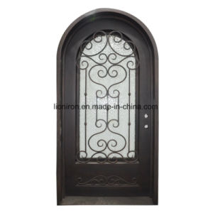 Glass Front Doors with Iron Full Round Design pictures & photos