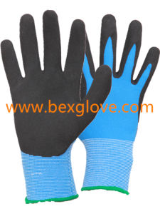 13 Gauge Nylon Liner, Latex Coating, Sandy Finish Glove pictures & photos