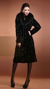 2014 New Fashion Winter Warm Womens Luxury Faux Mink Fur Long Coat Jacket Outwear/Faux Fur Turn-Down Collar Coats Women Hot Sale pictures & photos