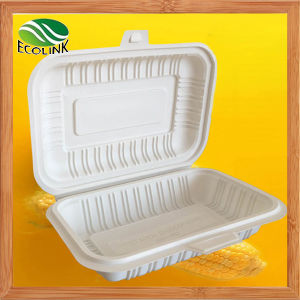 Custom 600ml Disposable Biodegradable Lunchbox with Cornstarch pictures & photos