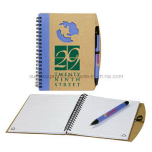 Customized A5 Kraft Paper Spiral Notebooks with Pen pictures & photos