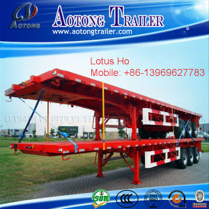 40ft Container Flatbed Trailer with 385/65r22.5 Single Tire for Tanzania pictures & photos
