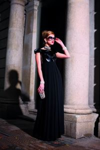 Elegant Evening Dress, Black Sequins Evening Dress for Lady (4-135-020)
