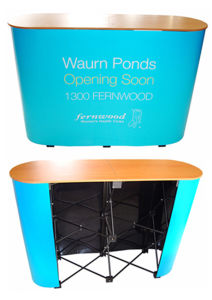 Portable Oval Pop up Table Promotion Counter (PM-07) pictures & photos