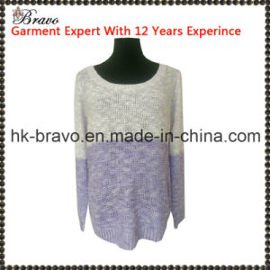 Wholesale High Quality Fashional Designed Ladies Splice Round Neck Long Sleeve Pullover Knitted Sweater Stock (SK001)