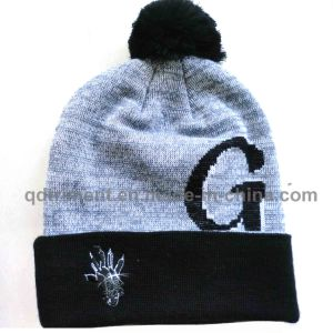 Popular Jacquard Cuff POM Ski Acrylic Knitted Beanie (TMK1571-1) pictures & photos