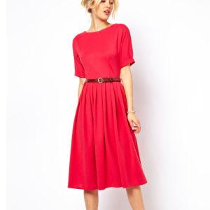 Soft Full Skirt Waist Jersey Belt Dress (JK034)