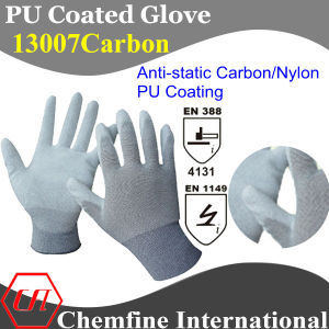 13G Gray Anti-Static Carbon/Nylon Knitted Glove with White PU Smooth Coating/ En388: 4131; En1149 pictures & photos