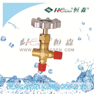 C T-466 Brass Three Way Valve Without Gauge with Silvery Plastic Handle Air Conditioner Parts Refrigeration Parts Refrigeration Tools pictures & photos